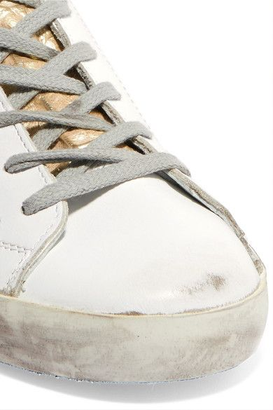 Golden Goose Deluxe Brand - Super Star Distressed Croc Effect-paneled Leather Sneakers - White - IT36