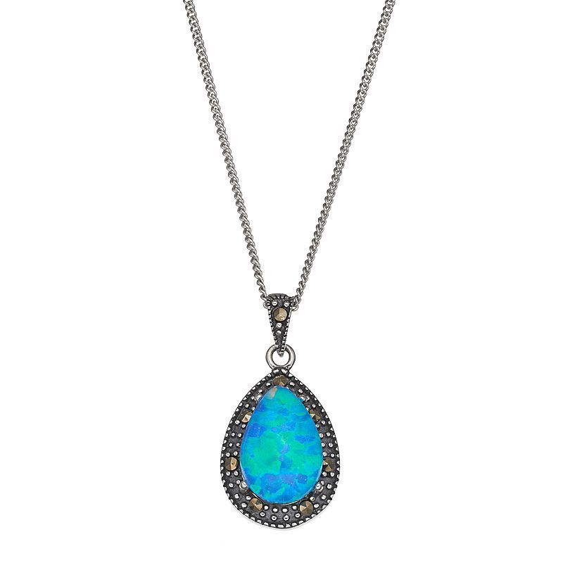 Sterling Silver Simulated Blue Opal Graduated Necklace DYSeZX4W6R