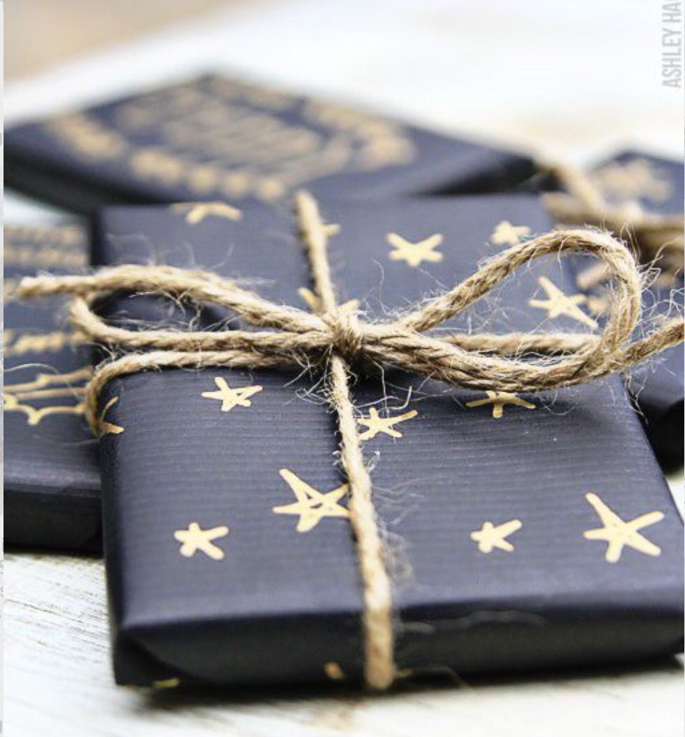 Black paper and gold sharpie gift wrapping