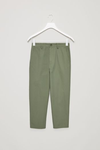 COS image 2 of Relaxed cotton chinos in Green