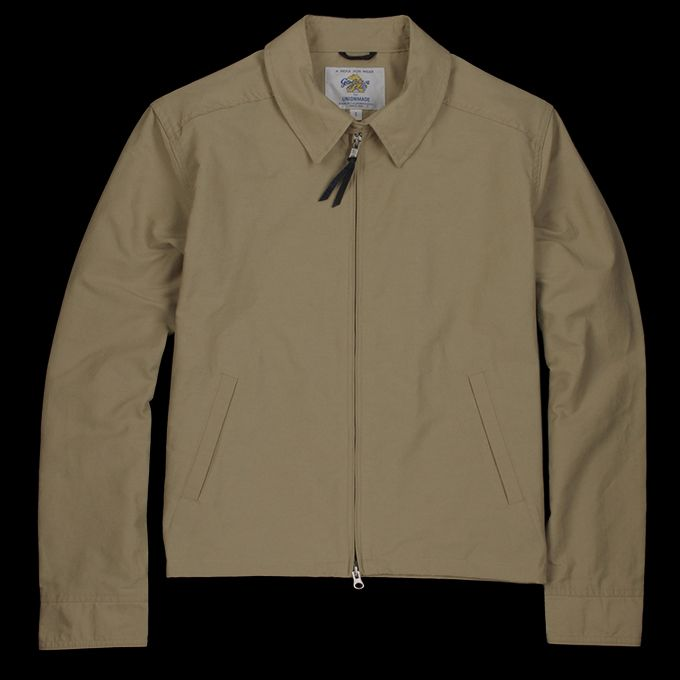 -Made in the USA. Designed with a Japanese garment washed cotton-nylon fabric, perfect for the warmer weather, this handsome, lightweight barracuda-style jacket features a point collar, double-zipper and mother of pearl buttons. -60% cotton, 40% nylon. -Point collar with single button tab...
