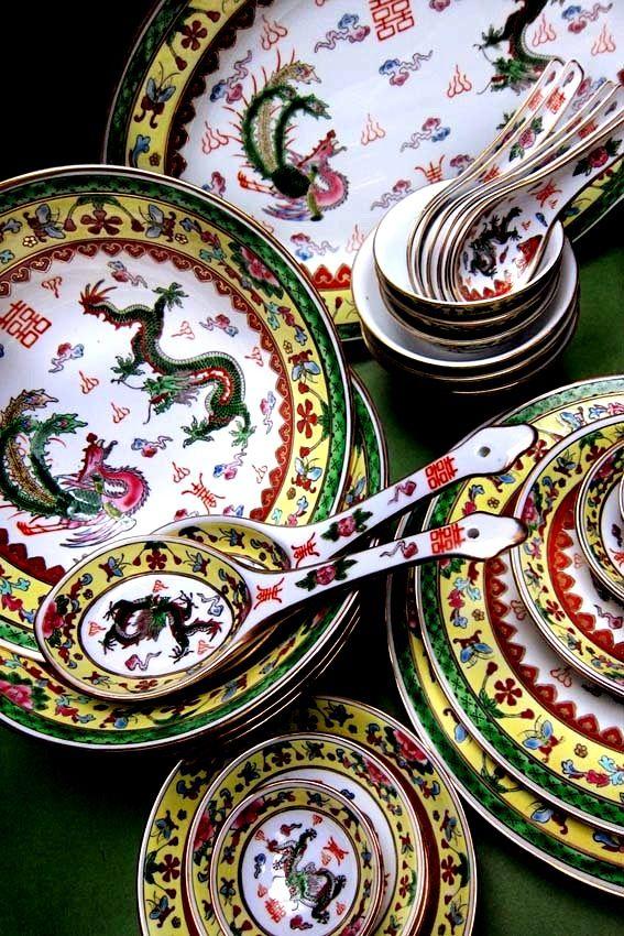 Old Dinner Set China Peranakan Style Herry Ashari Collections Dinner Sets Tableware Set Elegant Dinnerware