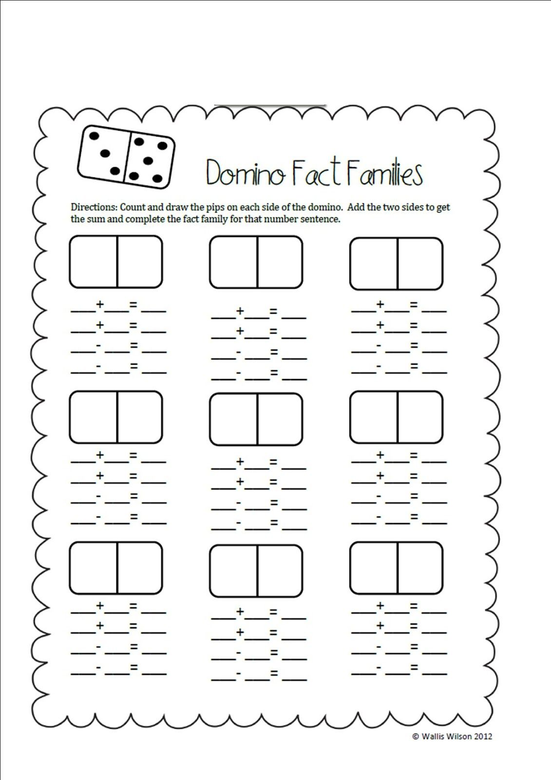 Ms Wilson S Wolves Search Results For Domino Fact Families Fact Family Worksheet First Grade Math Math Facts