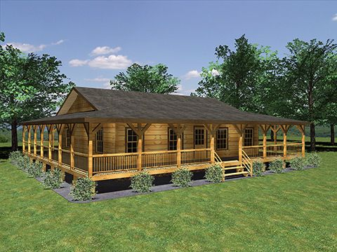 Custom Log Homes Honest Abe Log Homes Cabins Porch House Plans Ranch Style House Plans Ranch Houses With Wrap Around Porches