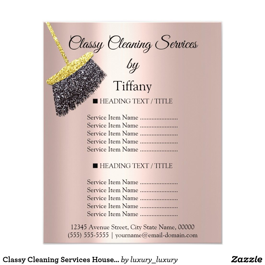 Classy cleaning services house keeping maid price flyer