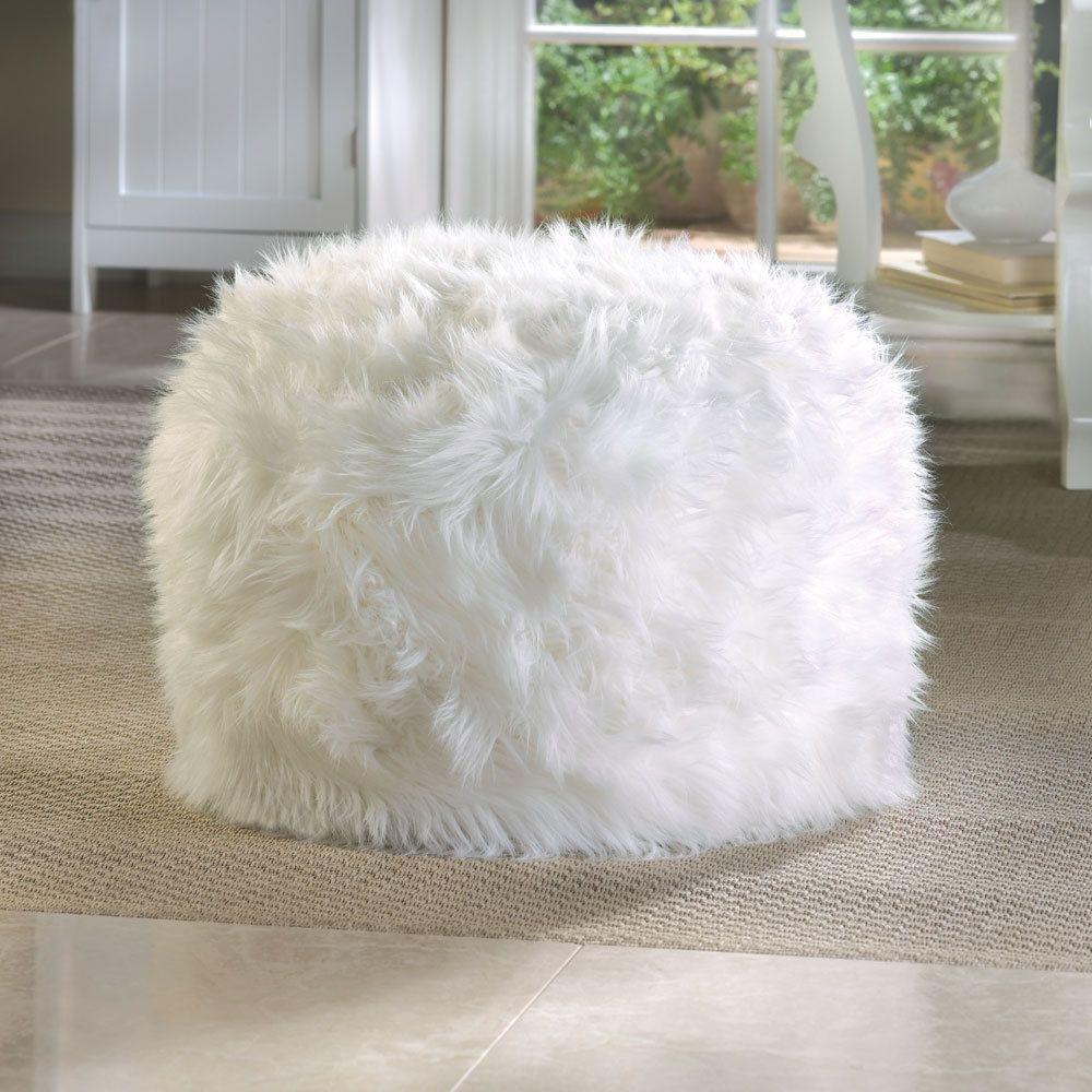 Fur Like Fuzzy Shaggy White Ottoman Pouf Foot Stool Rest Modern Teen Room Decor