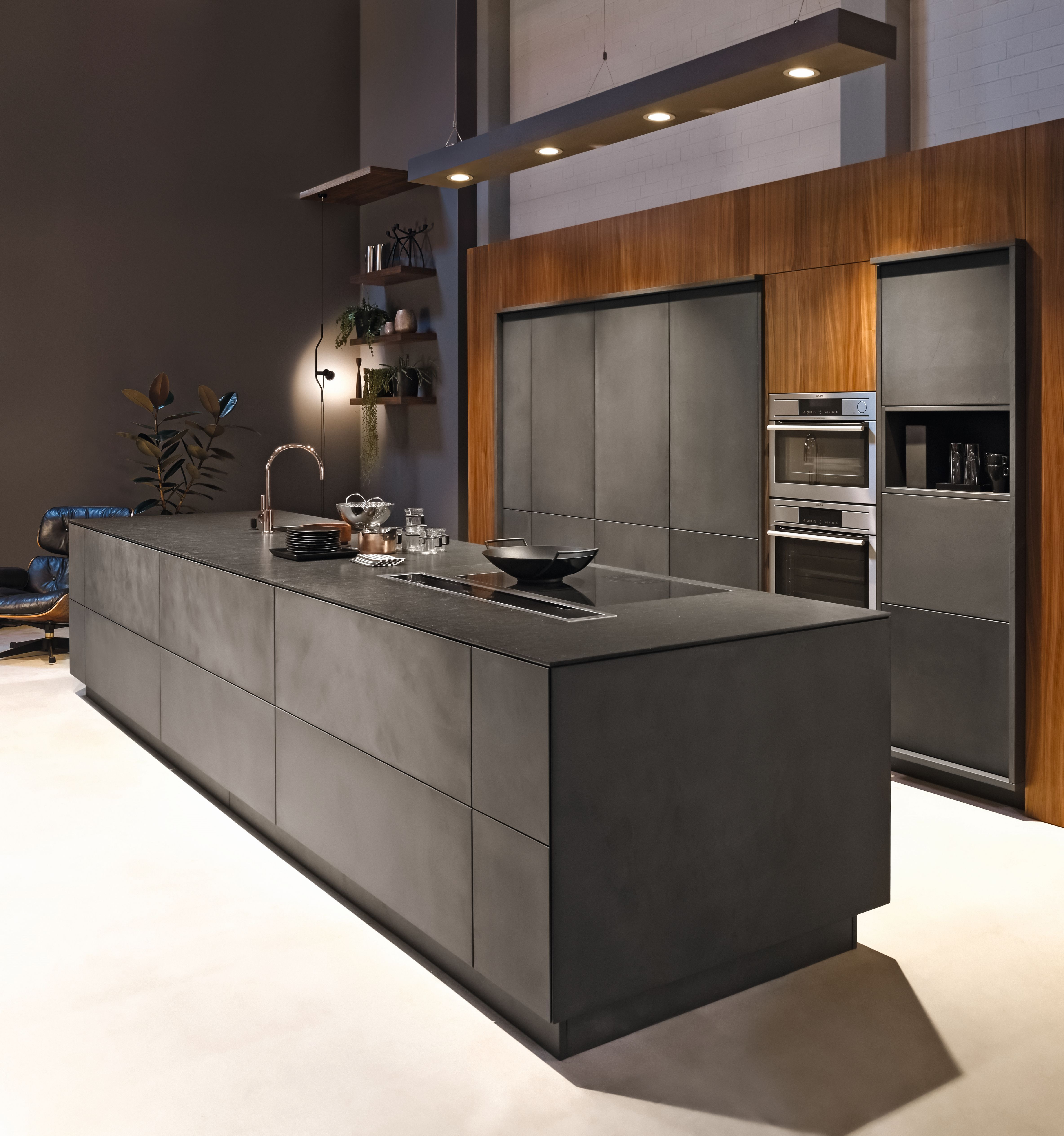 Küche k design kh küche beton anthrazit  nussbaum furniert kh kitchen concrete