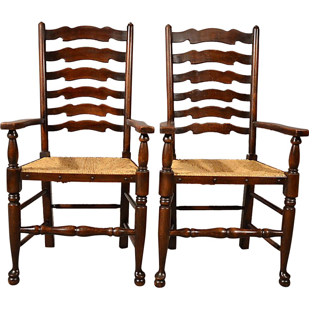 Antique Carver Chairs Elbow Armchairs Wavy Line Ladderback Rush Seat c1910 - Antique Carver Chairs Elbow Armchairs Wavy Line Ladderback Rush