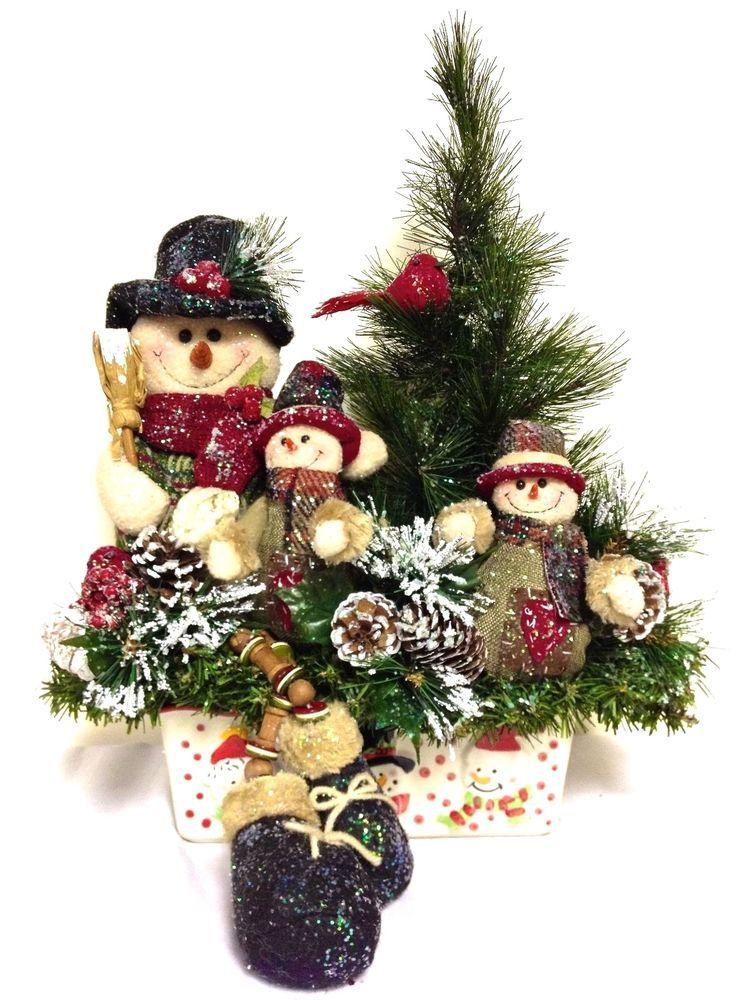 Snowman Family Arrangement Tall Winter Christmas Arrangement Large Stoneware Base Customde Christmas Christmas Arrangements Christmas Centerpieces