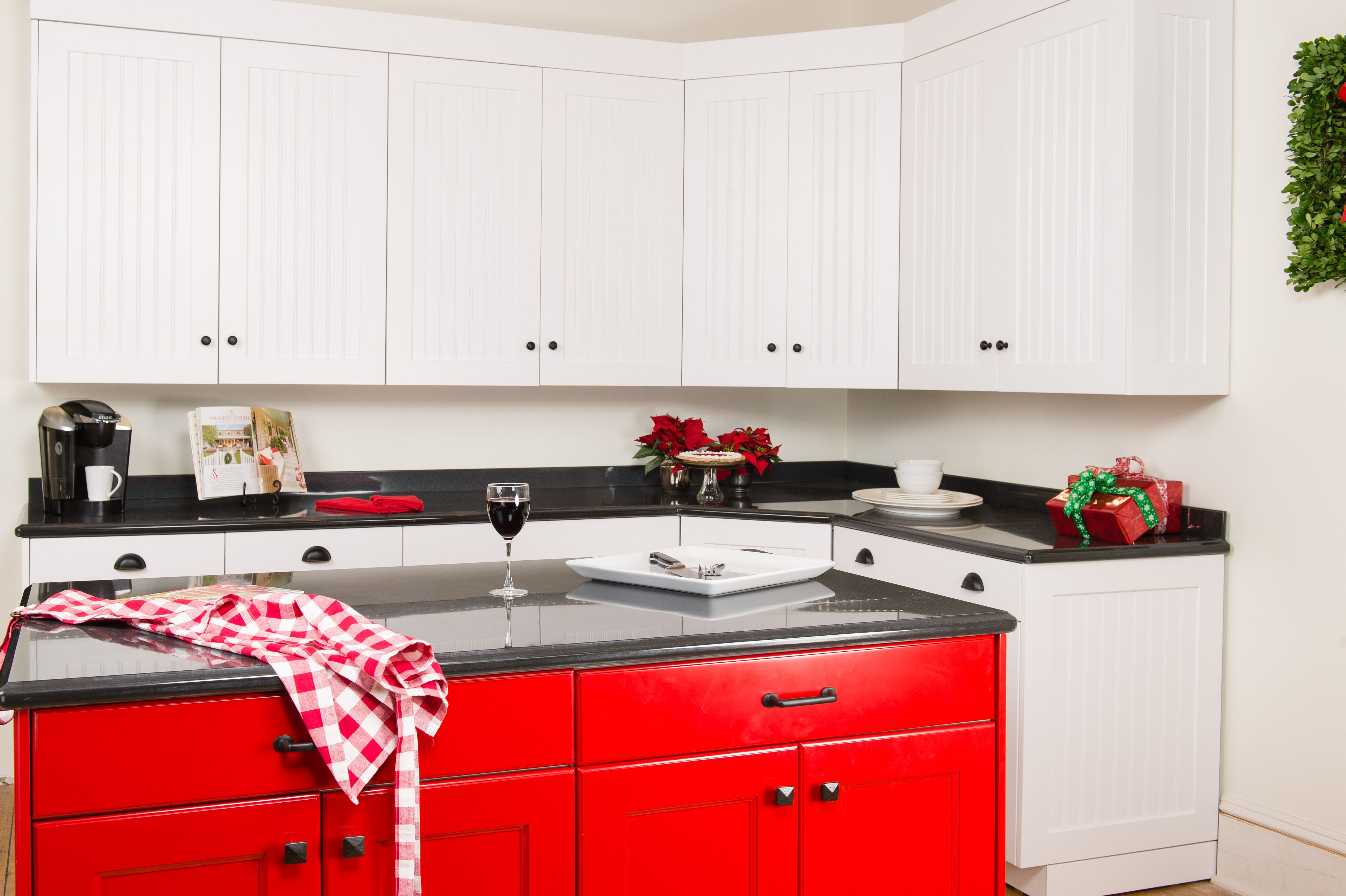 White Cabinets with a Red Island, very bold & bright ...