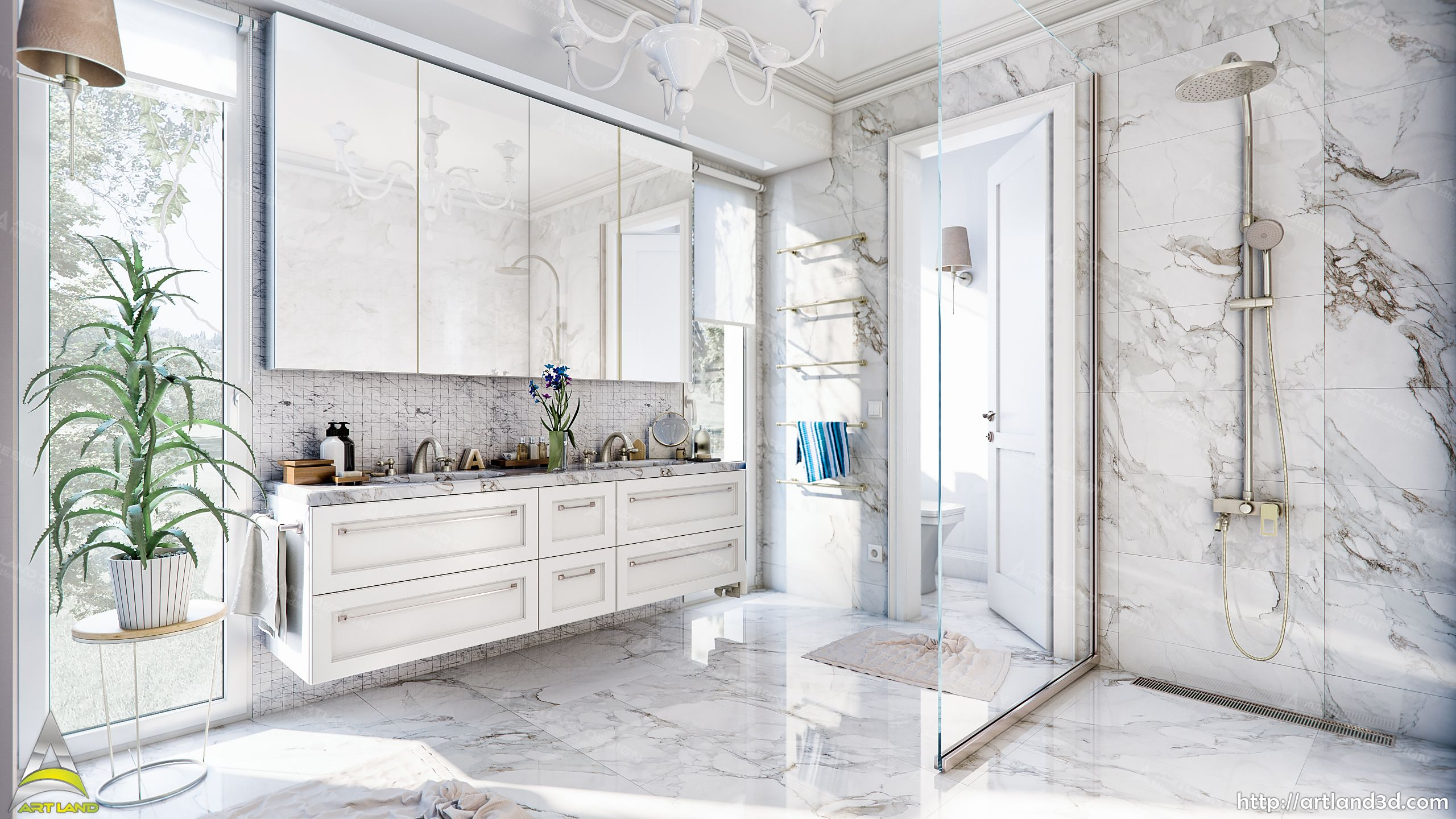 Ensuite bathroom 3D Visualization, Marble tiles, Modern Design | 3D ...
