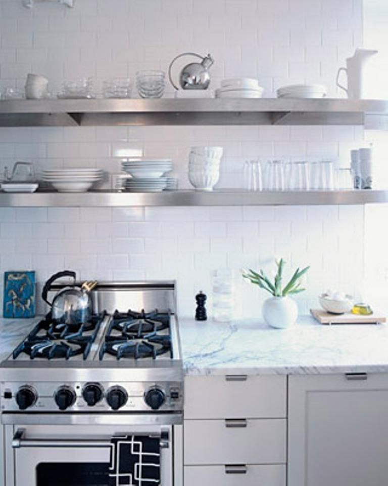 kitchens - stainless steel floating shelves shelf gas range white carrara  marble countertops subway tiles white modern kitchen cabinets kitchen and  other ...