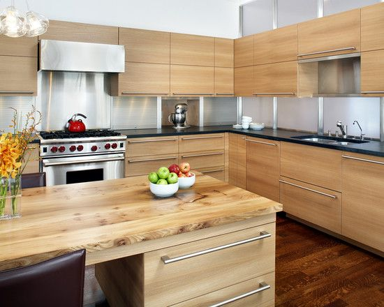 Mixed woods in kitchen, wood countertop