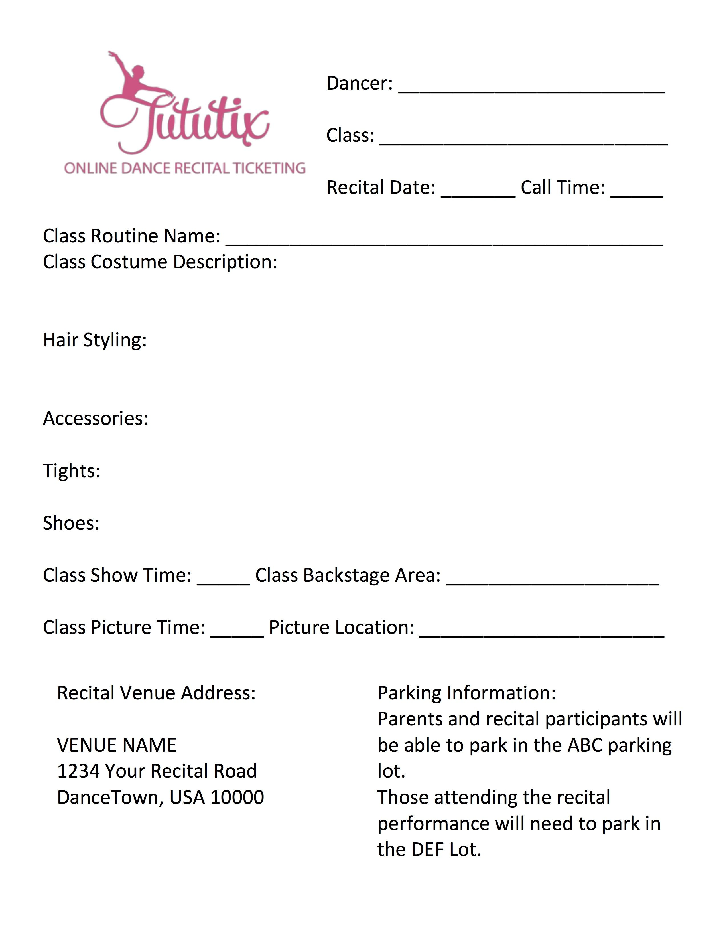 Dance Recital Information Sheet Template