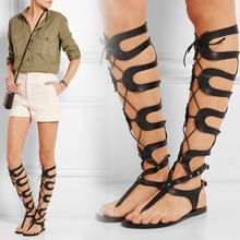 f94b3d04974 Summer Style Knee High Roman Sandals Lace Up Flat Sandals Hollow Out Thong  Sandal Fashion Gladiator Sandals Women Shoes 2015(China (Mainland))