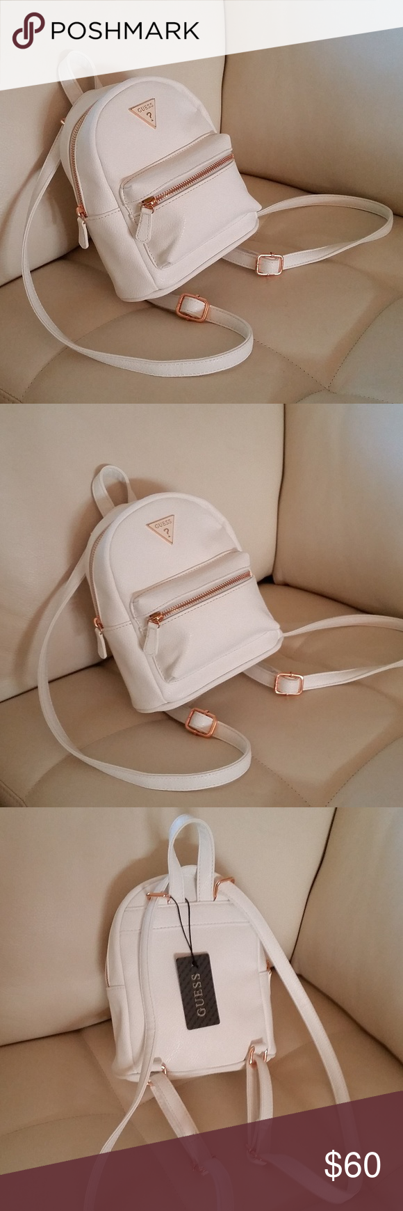 8e5796919f3 Guess White Mini Backpack - CEAGESP