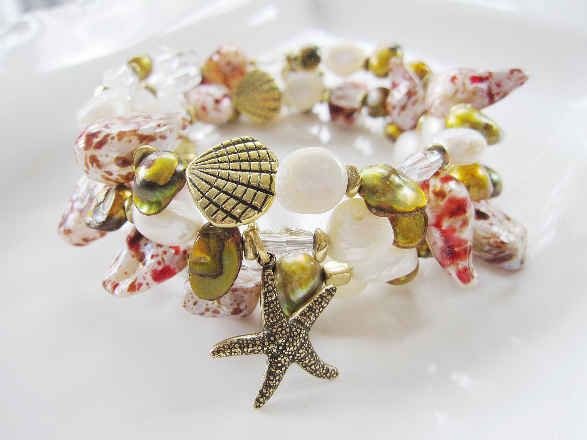 Shell Memory Bracelet, Wrap Bracelet, Antique Brass Starfish Charms, Beach Jewelry