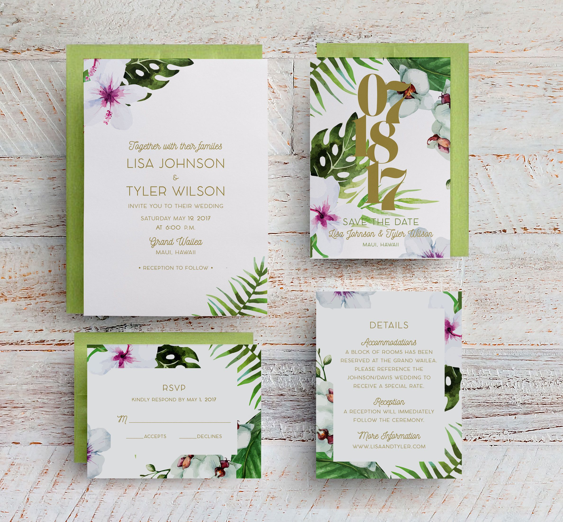 Tropical Wedding Invitations, Tropical Save the Dates, Hawaiian ...
