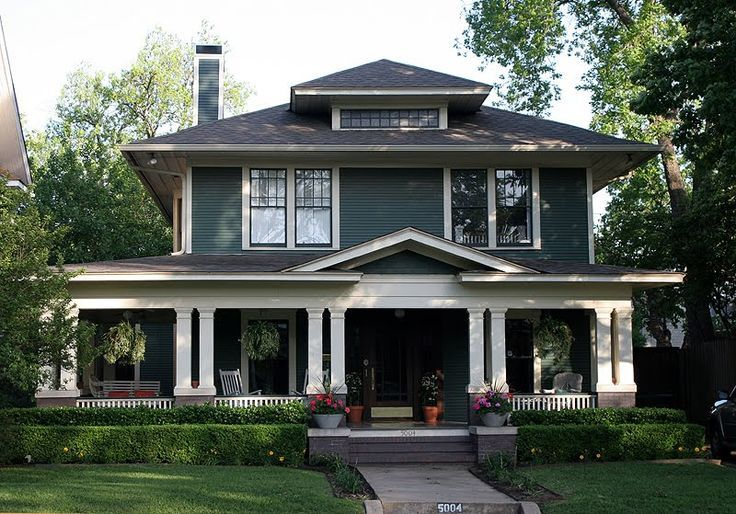 Foursquare Home With Wrap Around Porch Craftsman House House Exterior Craftsman Style Homes
