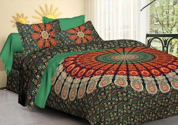 "Indian Handmade Green Color Bedding Mandala Printed two Pillow cases Morden Bedsheet King Size 90 X 108"",Floor home bedding decor sheets"