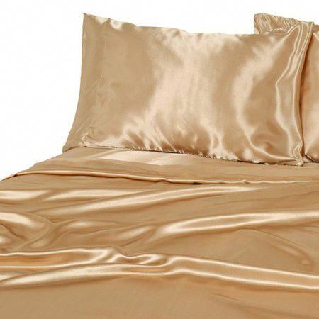 California King Bed Sheet Set Royal Opulence Gold Satin Silk Soft Bedding 4 Pcs