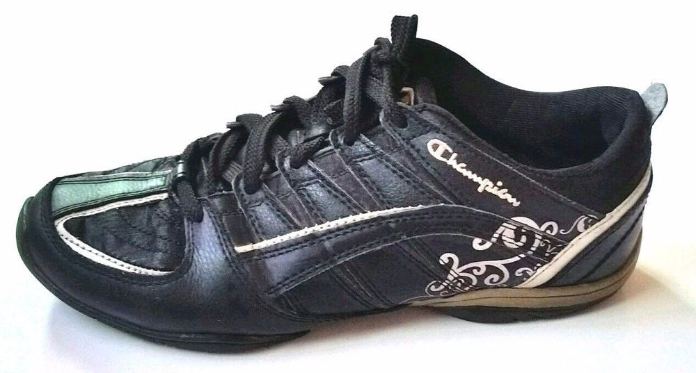 00dbc94ed CHAMPION Black Womens Athletic Tennis Shoes Silver ace Up 8.5 Sneakers  Casual  Champion  Tennis