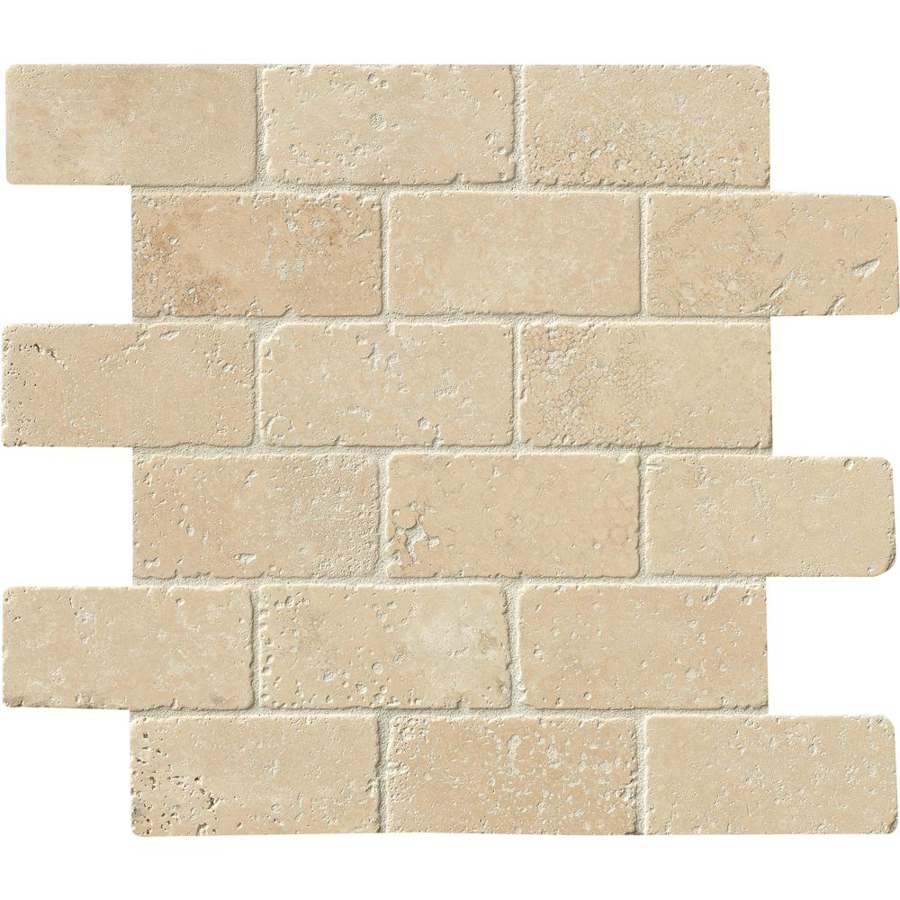Msi Durango 12 In X 12 In X 8mm Textured Travertine Mesh Mounted Mosaic Tile 10 Sq Ft Case Brick Dur The Home Depot Travertine Mosaic Tiles Travertine Tile