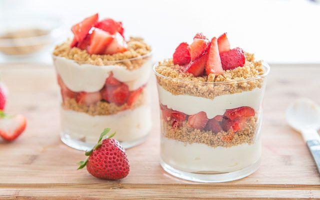 No Bake Strawberry Cheesecake Parfaits