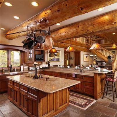 Log Cabin Kitchen With Granite Countertops Love Love Love Love Loovvee The Two Islands Log Home Kitchens Log Cabin Kitchens Log Homes