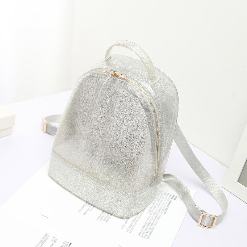3bf929dee3a6 Silver Backpack Cute Clear Jelly Bags in 2019