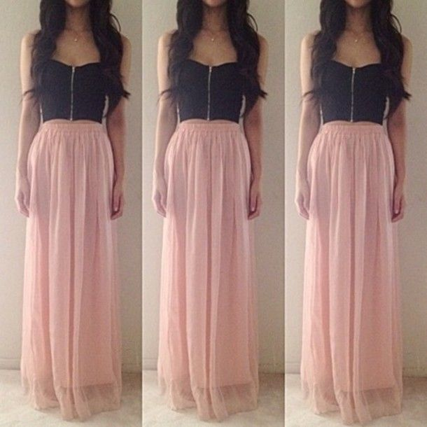 Crop Top Skirt | ... skirt-bandeau-bralette-flowy-crop-top-maxi ...