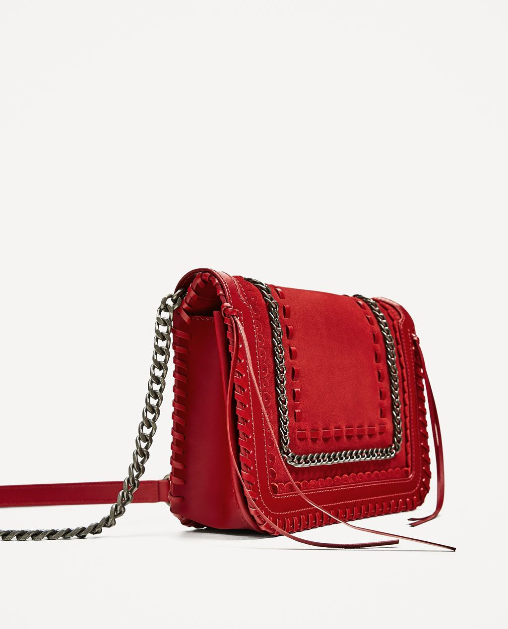 Zara Woman Red Leather Crossbody Bag