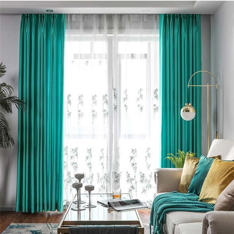 Solid Cyan Curtain Modern Simple Curtain Living Room Bedroom