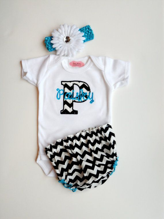 chevron personalized baby girl clothes newborn girl by lilmamas