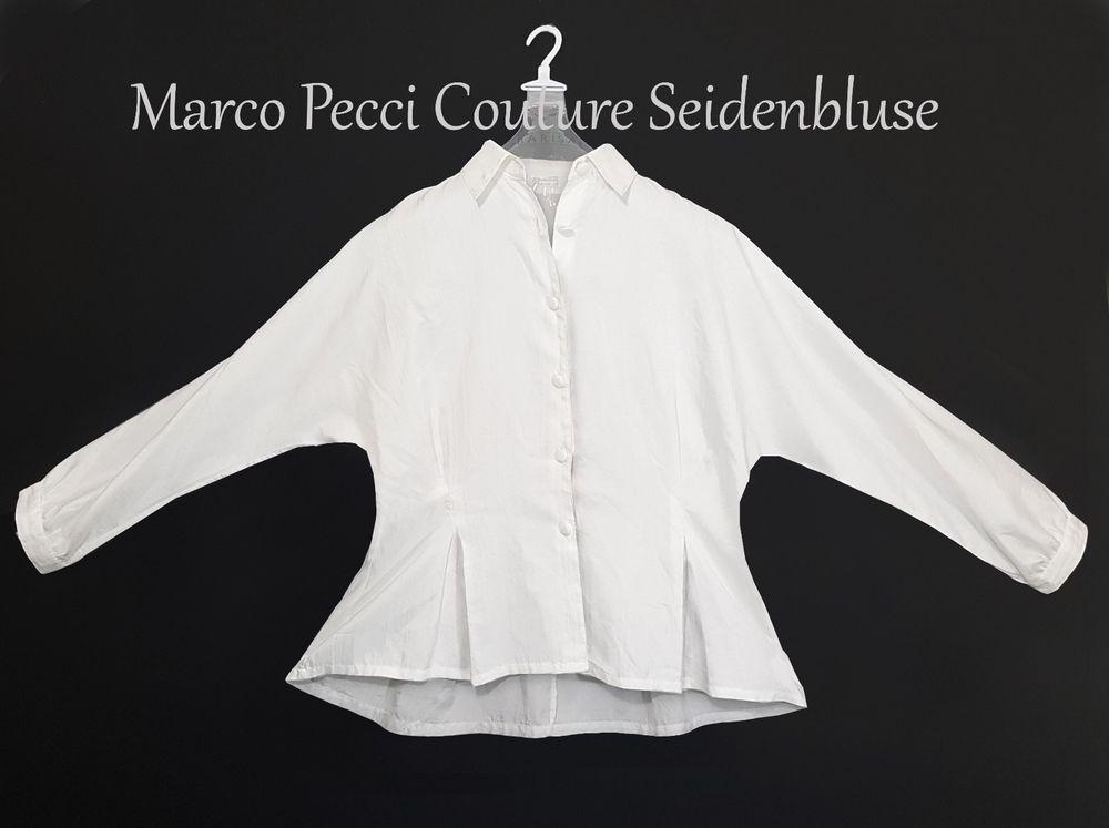 Bluse Seide Blogger Ballon Fledermausärmel Wildseide Dirndlbluse Gr L XL  weiß K2   Kleidung   Accessoires ecd50e5d23