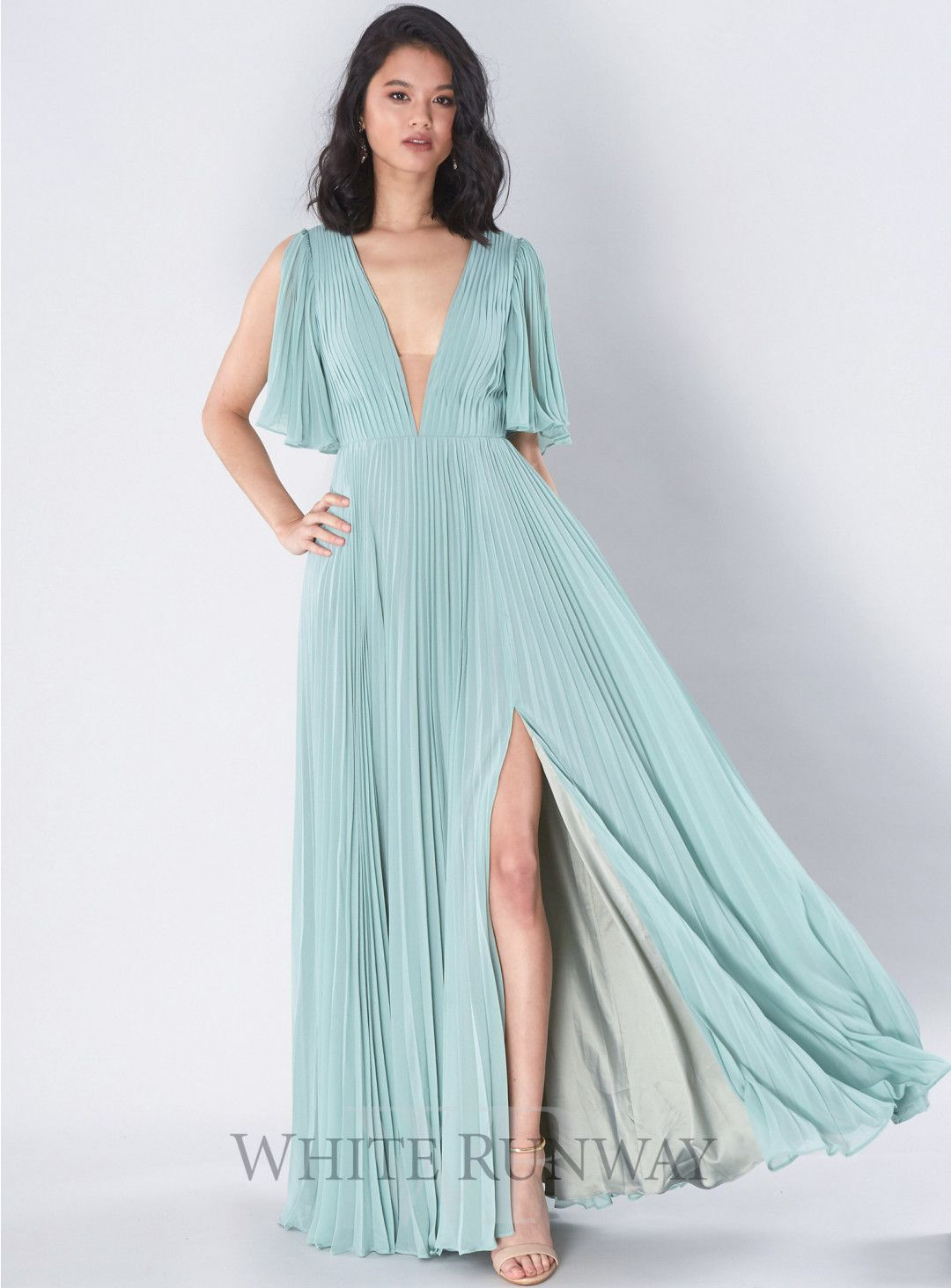 Clementine pleated gown a stunning full length gown by samantha