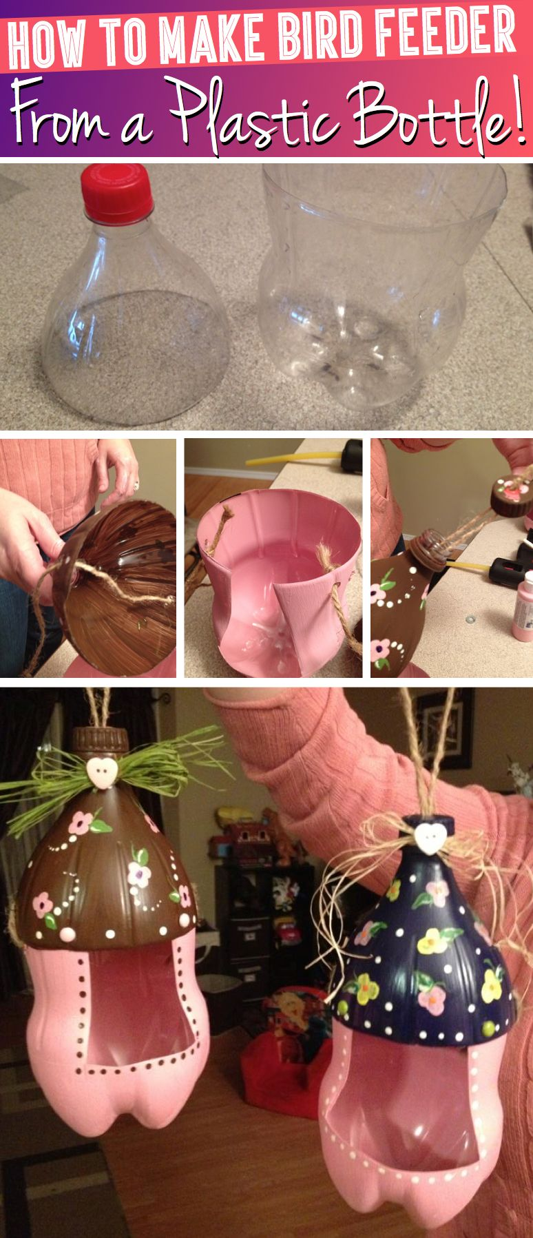 How to Make a Cute Bird Feeder From a Plastic Bottle #plasticbottleart