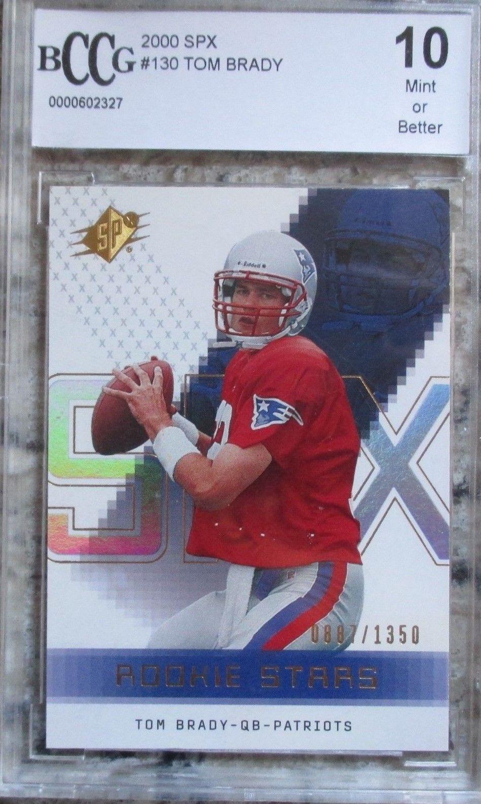 2000 spx tom brady rookie card beckett grade mint 10 tom