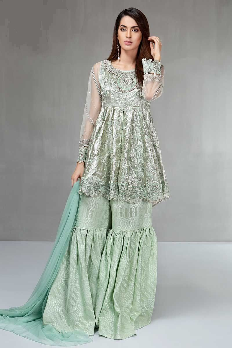 12008f87a8 Light green party wear sharara dress by Maria B eid collection  #springcollection #spring #readytowear #pretwear #unstitched #online #linen  #lawncollection ...