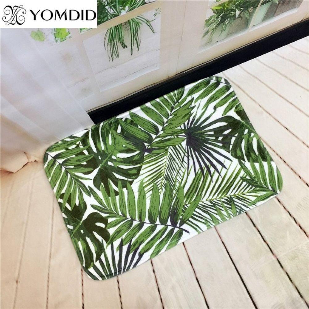 Tropical Plants Printed Kitchen Bathroom Rug Living Room Anti Slip Carpet In 2020 Rugs In Living Room Living Room Carpet Kitchen Carpet