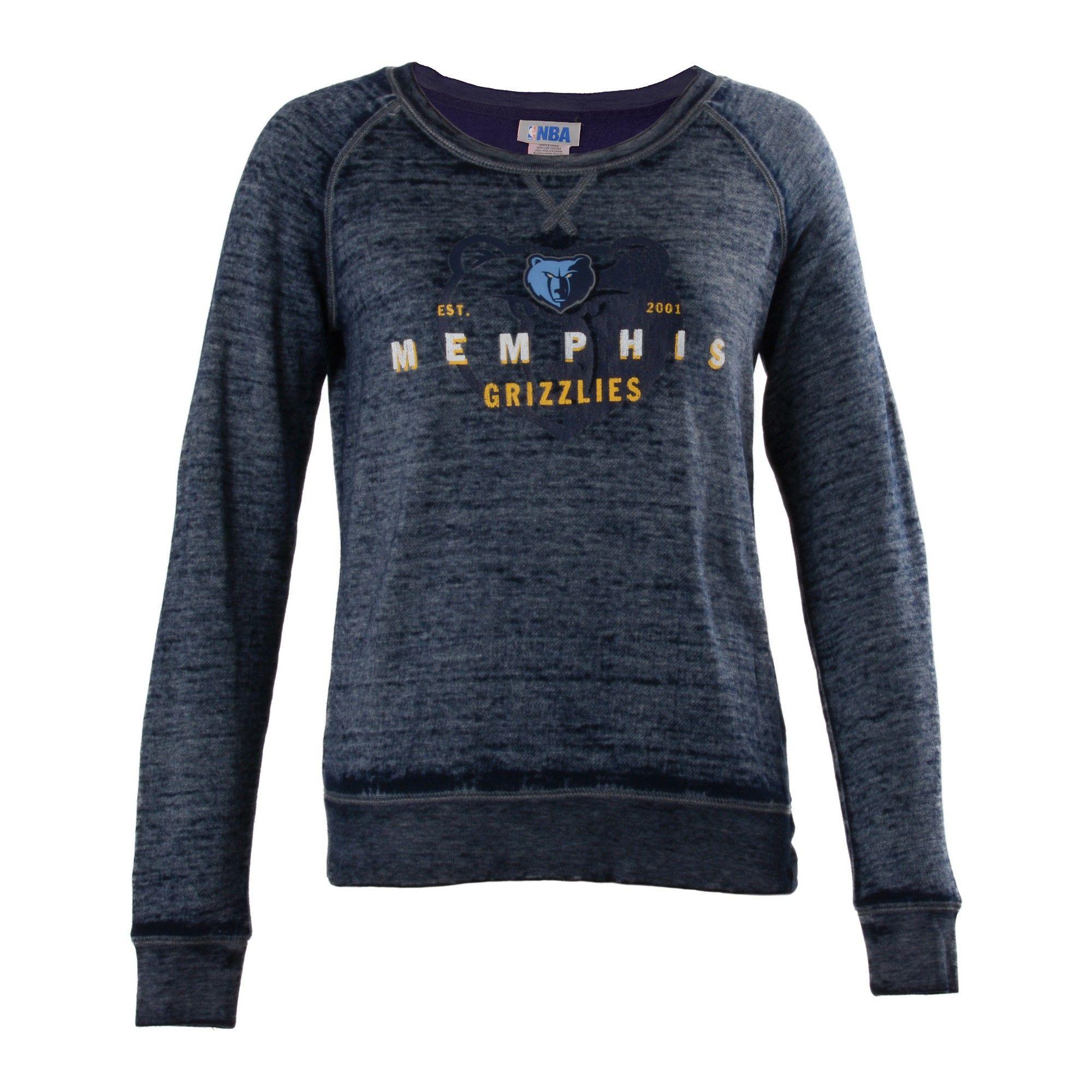 d0eca60c5 Memphis Grizzlies Women s Retro Logo Burnout Crew Neck Sweatshirt ...