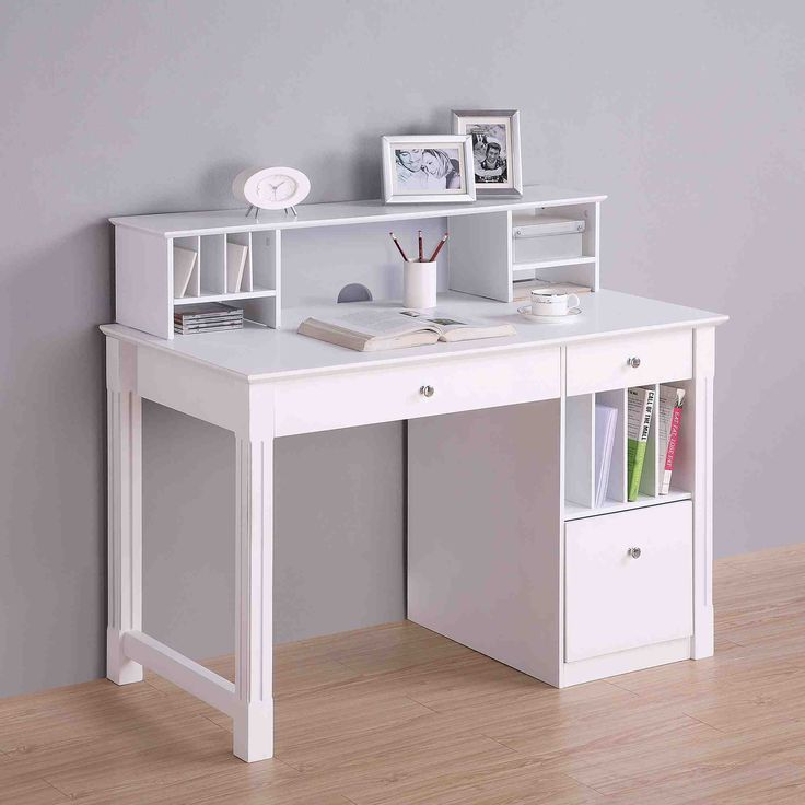 Home Office Deluxe White Wood Storage Computer Desk With Hutch Saracina