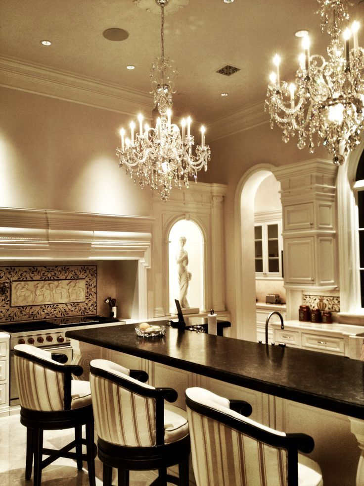Luxury Kitchen Design Grand: Terrific Kitchen With Double Chandeliers