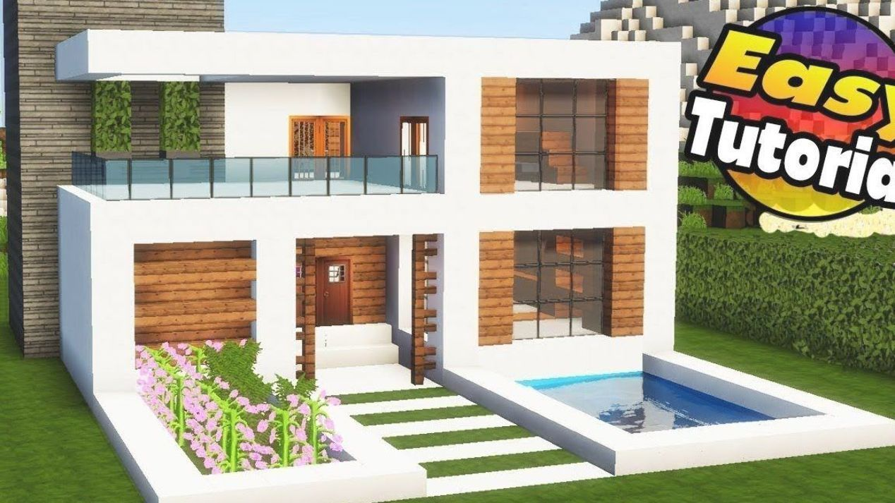 Minecraft Easy Modern House Tutorial Interior How To Build A House In Mine In 2020 Modern Minecraft Houses Easy Minecraft Houses Minecraft Modern House Blueprints