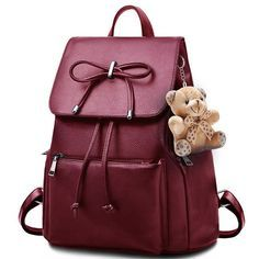 Unique Flap Draw String Large Bag Capacity Bowknot Bear Doll Black PU School Backpack