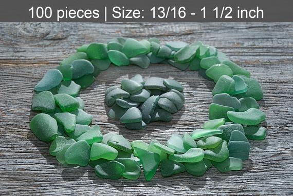 Photo of Matt green beach glass 100pcs. Large to medium-sized. Sea glass jewelry supplies. Nau …