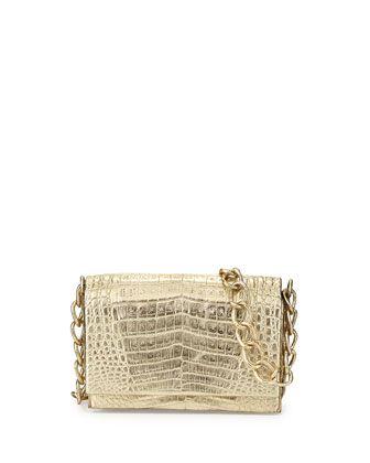Crocodile Medium Flap Crossbody Bag, Gold Metallic by Nancy Gonzalez at Bergdorf Goodman.