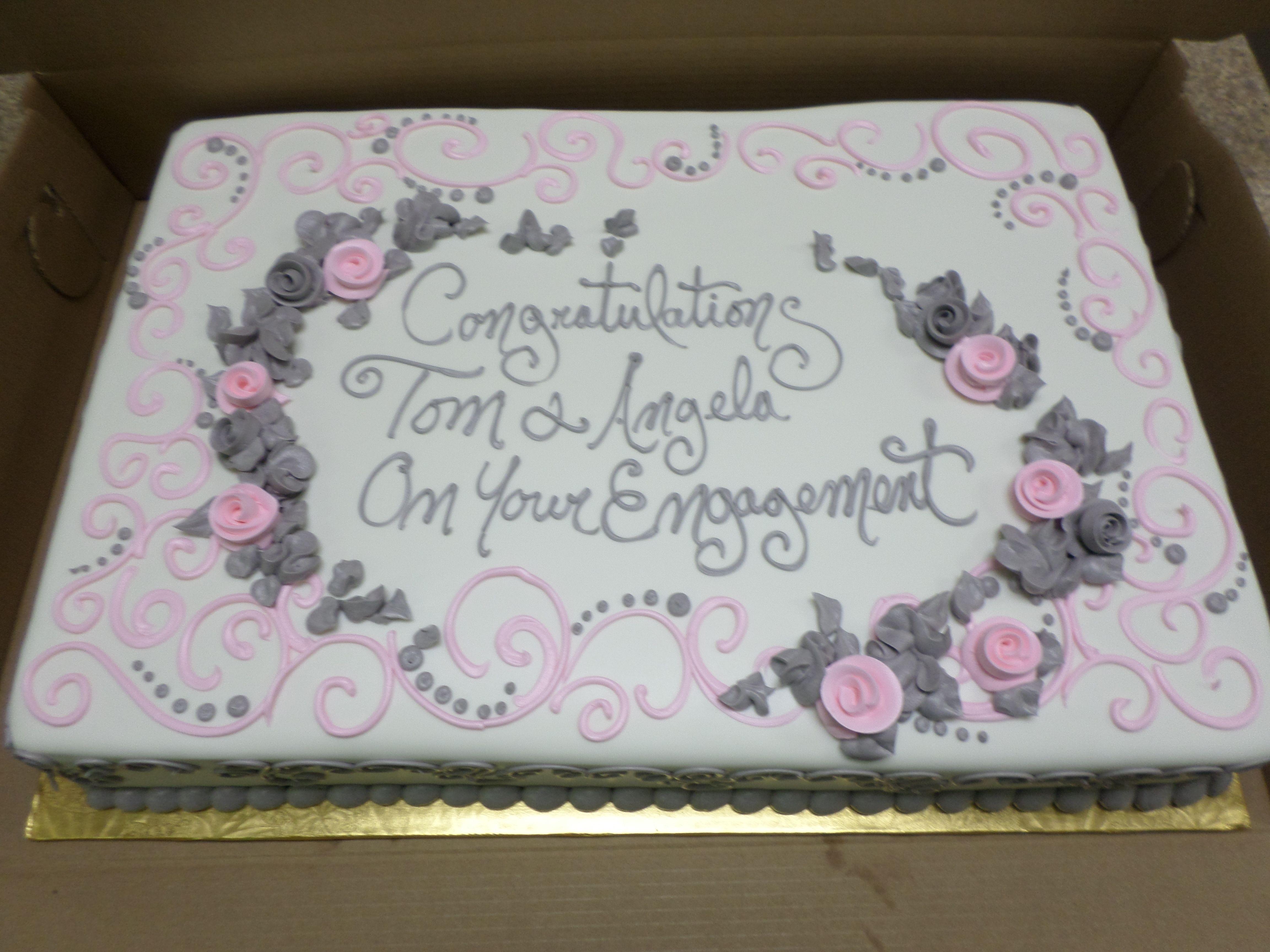 Engagement Sheet Cake Engagement party cake, Wedding