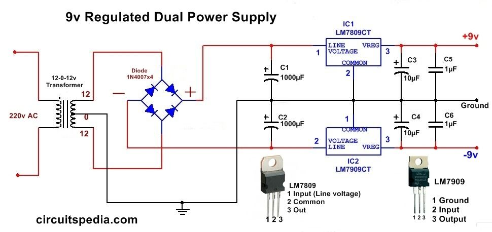 9v Dc Regulated Dual Power Supply Circuit Diagram Circuit Diagram Power Supply Circuit Circuit