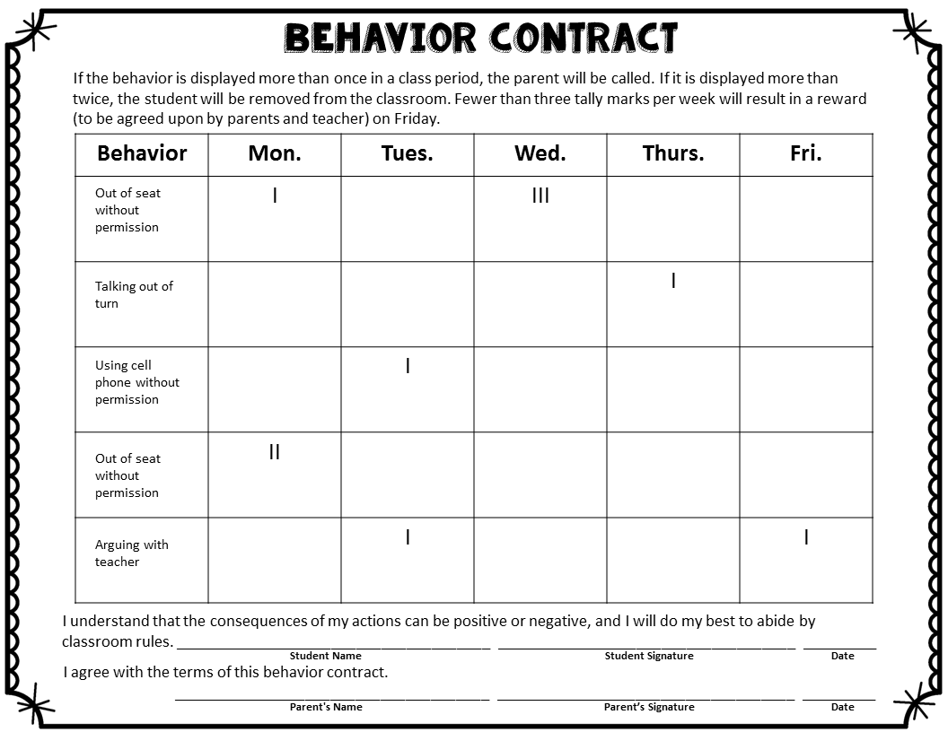 Workbooks responsibility worksheets for middle school : Best 25+ Behavior contract ideas on Pinterest | Individual ...